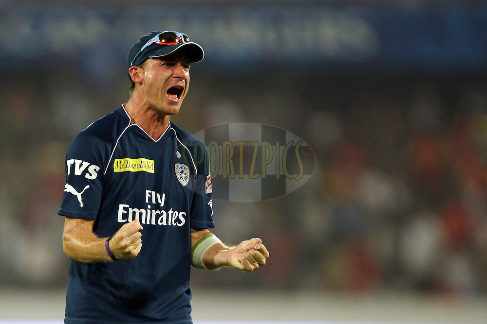 Dale Steyn celebrates the victory during match 71 of the the Indian Premier League ( IPL) 2012  between The Deccan Chargers and the Royal Challengers Bangalore held at the Rajiv Gandhi Cricket Stadium, Hyderabad on the 20th May 2012..Photo by Jacques Rossouw/IPL/SPORTZPICS