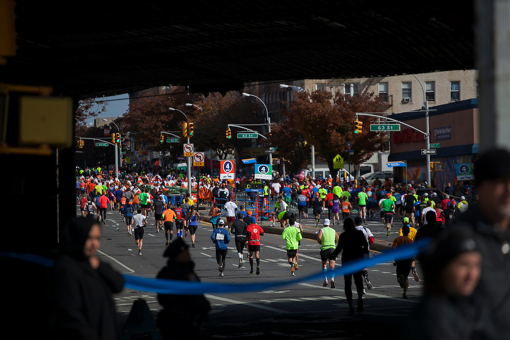 Participants along 4th Ave in the New York City Marathon in Brooklyn, NY on Sunday, Nov. 3, 2013.<br /> <br /> CREDIT: Andrew Hinderaker for The Wall Street Journal<br /> SLUG: NYSTANDALONE