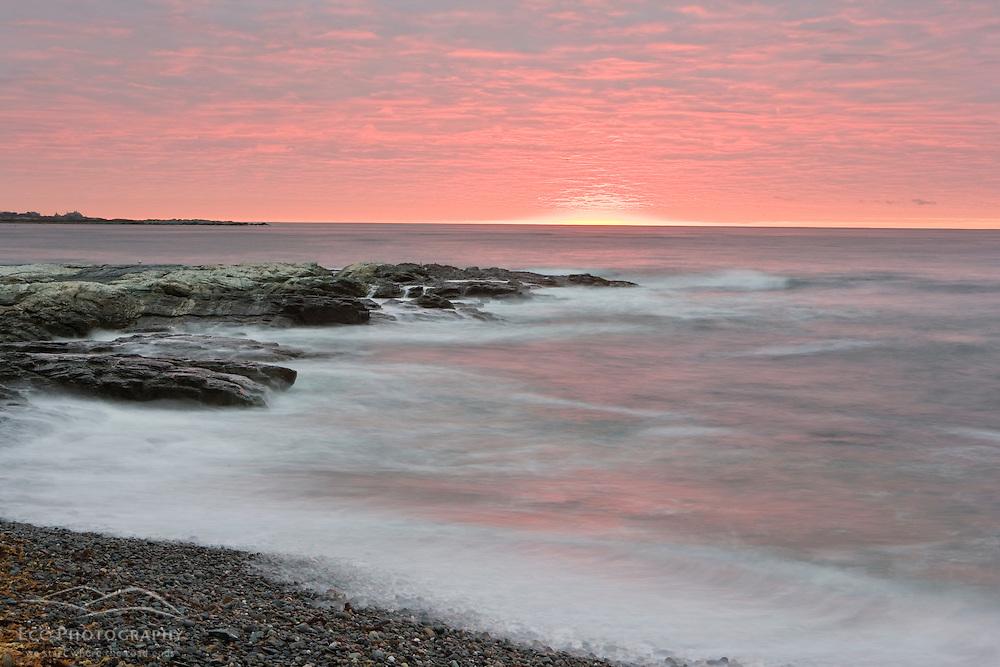 Sunrise near Brenton Point State Park on Ocean Road in Newport, Rhode Island.
