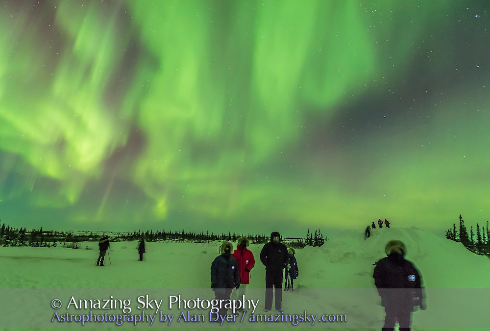 Aurora watchers looking south to a bright curtain of Northern Lights while other curtains rippled behind them to the north. This was a fabulous all-sky display, March 6, 2016. The temperature was about -25° C.