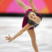 Australian skater Joanne Carter performs during the Short Program of the Women's Figure Skating competition at the Palavela ice arena in Turin, Italy on February 21, 2006. U.S. fgigure skater Sasha Cohen leads in the event with a score of 66.73. Teammate Kimmie Meissner is in fifth with 59.40 points and Emily Hughes is in seventh with 57.08. Carter finished the night in 25th place with a score of 40.86..(Photo by Marc Piscotty / © 2006)