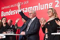 11 FEB 2017, BERLIN/GERMANY:<br /> Frank-Walter Steinmeier, SPD, Kandidat fuer das Amt des Bundespraesidenten, hinter ihm seine Ehefrau Elke B&uuml;denbender, Anke Rehlinger, SPD Saarland, (v.L.n.R.), waehrend einem Empfang der SPD anl. der Bundesversammlung, Westhafen Event und Convention Center<br />  IMAGE: 20170211-03-047