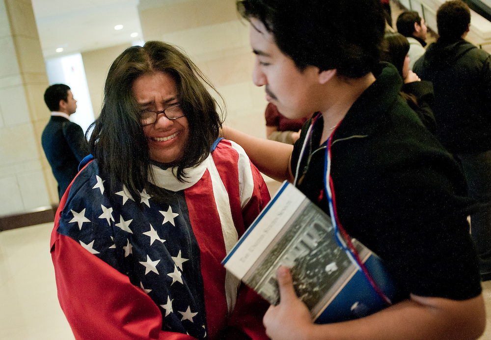 Dec 18, 2010 - Washington, District of Columbia, U.S. -  Supporters of The Dream Act react at the U.S. Capitol following a failed vote in U.S. Senate to halt debate and move to a vote on the DREAM Act.  The DREAM Act would have created a path to citizenship for some illegal immigrants who entered the country as children. The vote failed by 55-41 (Credit Image: © Pete Marovich/ZUMA Press)