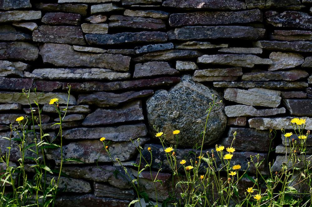An stone fence in the garden o Eva Darpö's summer home in Bunge, Gotland...Photographer: Chris Maluszynski /MOMENT