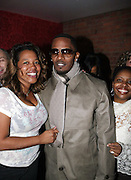 l to r: Danyel Smith, Jamie Foxx and Olivia Scott-Perkins at The Jamie Foxx's Album Release Party for Intuition, Sponsored by Vibe Magazine & Patron Tequila held at Home on December 17, 2008 in New York City..