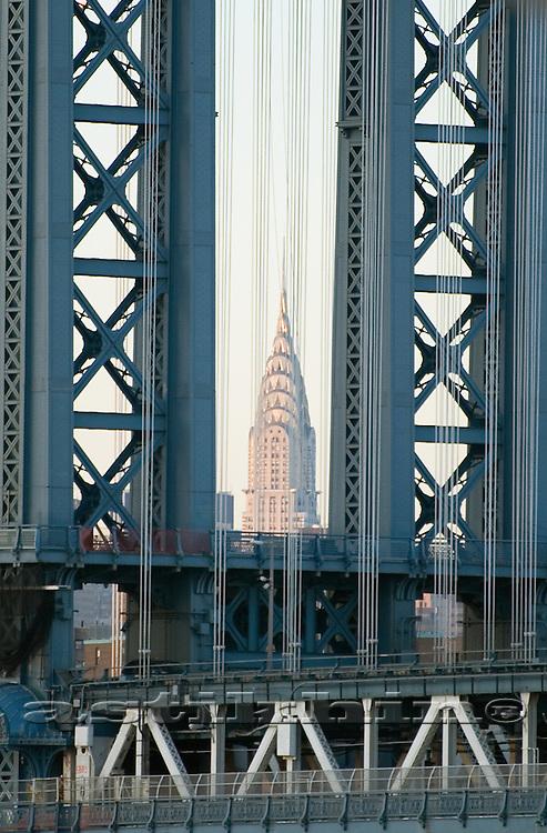 Chrysler in frame of Manhattan Bridge Tower