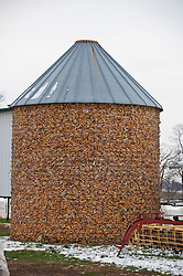 a silo full of corn on the cob during the winter in Lancaster, PA