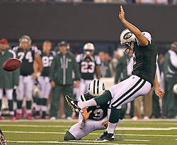 Oct 11, 2010; East Rutherford, NJ, USA; New York Jets place kicker Nick Folk (2) hits one of his five field goals during the second half of their game against the Minnesota Vikings at the New Meadowlands Stadium. The Jets defeated the Vikings 29-20.