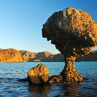 Mushroom Rock at Balandra Beach near La Paz, Baja California Sur, Mexico