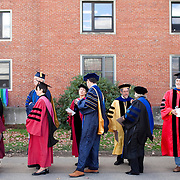 10/21/2011- Medford/Somerville, Mass. - Faculty members wait outside Houston Hall before walking into the inauguration of Tufts' 13th President, Anthony Monaco, on Oct. 21, 2011. (Kelvin Ma/Tufts University)