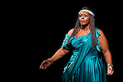 22.02.2012. London, UK. A brand new production of Giuseppe Verdi's awe-inspiring masterpiece, Aida, directed by Stephen Medcalf. The drama unfolds in the very heart of the Royal Albert Hall, drawing the audience in from all sides. With a combined cast of over 120 soloists, chorus, actors and dancers, and with Aida played by Indra Thomas and Radames by Marc Heller. Picture shows Indra Thomas as Aida. Photo credit : Tony Nandi