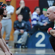 William Penn Ryan Juarez-Robertson, left, looks at the official during a match with Mount Pleasant Kyle Mayo in a 132 pound bout during the Blue Hen Conference Wrestling Tournament Finals Saturday, Feb. 20, 2016 at William Penn High School in New Castle.<br /> <br /> William Penn Ryan Juarez-Robertson defeated Mount Pleasant Kyle Mayo
