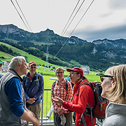 A cable car from Brülisau reaches Hoher Kasten mountain in the Alpstein limestone range, Appenzell Alps, overlooking the Rhine in Eastern Switzerland, Europe. Hoher Kasten (1795 m/5876 ft) is on the border between the cantons of Appenzell Innerrhoden and St. Gallen. A revolving restaurant is on the top. Appenzell Innerrhoden is Switzerland's most traditional and smallest-population canton (second smallest by area).