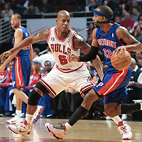 30 October 2010: Chicago Bulls Keith Bogans defends against Detroit Pistons Richard Hamilton during the Chicago Bulls 101-91 victory over the Detroit Pistons at the United Center, in Chicago, Illinois, USA.