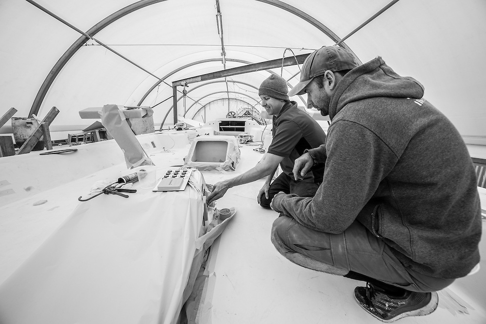 100 foot race yacht at Southern Ocean Marine. September 2016 Photo:Gareth Cooke/Subzero Images