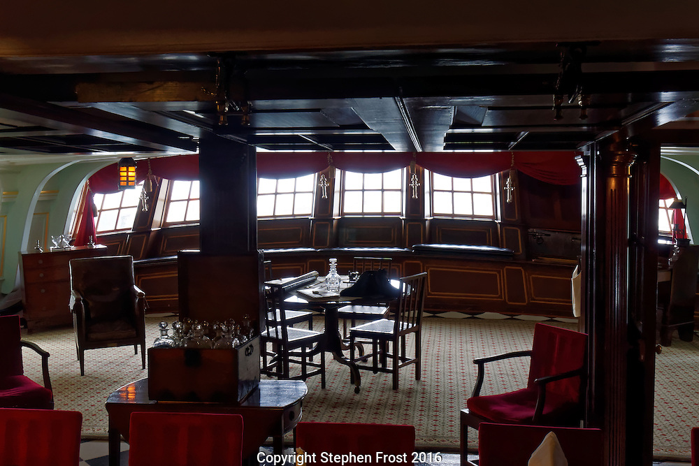 Captain's Cabin of HMS Victory  in Portsmouth, England. HMS Victory is a 104-gun ship of the line of the Royal Navy,  launched in 1765. She was Lord Nelson's flagship at the Battle of Trafalgar in 1805.