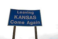 Kansas State sign at Kansas souther border with  Oklahoma