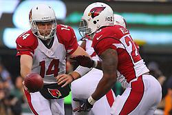 Dec 2, 2012; East Rutherford, NJ, USA; Arizona Cardinals quarterback Ryan Lindley (14) hands the ball to Arizona Cardinals running back Beanie Wells (26) during the first half at MetLIfe Stadium.