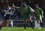 01/06/2002.Sport - Rugby - Zurich Championship.Bristol v Northampton.Agustin Pichot left, counters Andrew Blowers hand off, by palming Blowers hand away.   [Mandatory Credit, Peter Spurier/ Intersport Images].