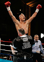 February 16, 2006 - New York, NY - Junior middleweight Giovianni Lorenzo celebrates after his win over Chris Henry at the Manhattan Center in NYC.  Lorenzo won via 3rd round TKO.