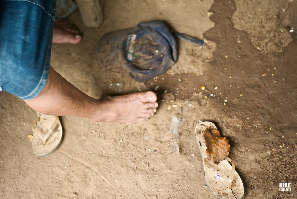 Dirty naked feet. Indigenous children at school at a Ngo?be Bugle? Community. Chiriqui. Panama.