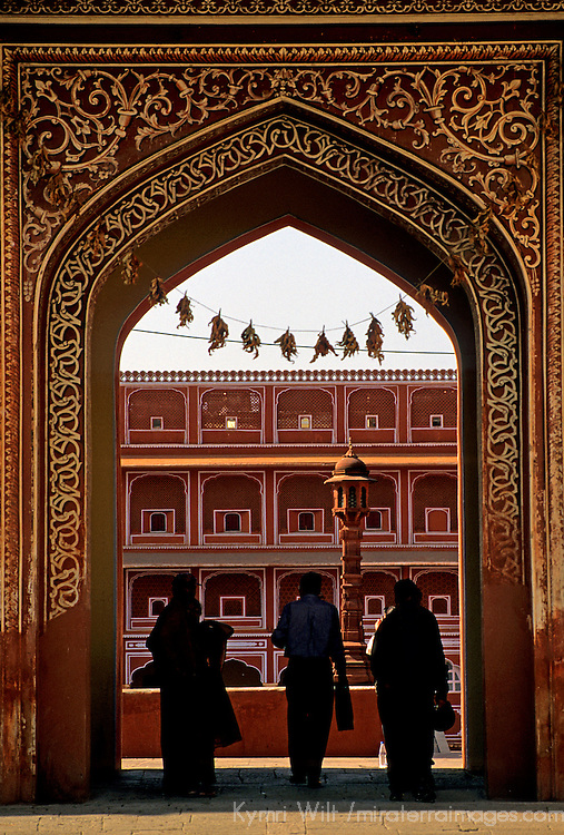 Asia, India, Jaipur. Arched gate to the pink city of Jaipur.