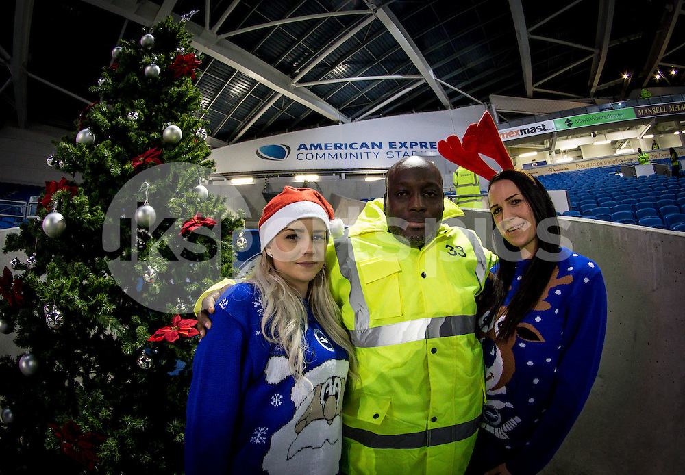 The staff enjoy the christmas spirit before the Sky Bet Championship match between Brighton and Hove Albion and Millwall at the AMEX Stadium, Brighton, England on 12 December 2014. Photo by Liam McAvoy.