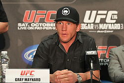 October 5, 2011; Houston, TX.; USA;  Gray Maynard speaks at the final press conference for his fight against UFC Lightweight Champion Frankie Edgar at UFC 136.