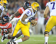 LSU quarterback Jordan Jefferson (9) runs against Ole Miss at Vaught-Hemingway Stadium in Oxford, Miss. on Saturday, November 19, 2011.