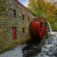 The Sudbury Grist Mill in Central Massachusetts on a beautiful spring morning. This is a more intimate view of this historic watermill. The warm morning light painted the tree canopy in gorgeous spring colors which stand in nice contrast with the historic landmark and red waterwheel. A long exposure setting created the flowing water effect of the brook.<br /> <br /> Wayside Inn Grist Mill photography images are available as museum quality photo, canvas, acrylic, wood or metal prints. Wall art prints may be framed and matted to the individual liking and interior design decoration needs:<br /> <br /> https://juergen-roth.pixels.com/featured/the-sudbury-grist-mill-juergen-roth.html<br /> <br /> Good light and happy photo making!<br /> <br /> My best,<br /> <br /> Juergen<br /> Licensing: http://www.rothgalleries.com<br /> Photo Prints: http://fineartamerica.com/profiles/juergen-roth.html<br /> Photo Blog: http://whereintheworldisjuergen.blogspot.com<br /> Instagram: https://www.instagram.com/rothgalleries<br /> Twitter: https://twitter.com/naturefineart<br /> Facebook: https://www.facebook.com/naturefineart