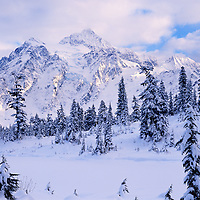 Mt. Shuksan, WA, USA.Mt. Shuksan in North Cascades National Park..Winter at Picture Lake..Brett Baunton