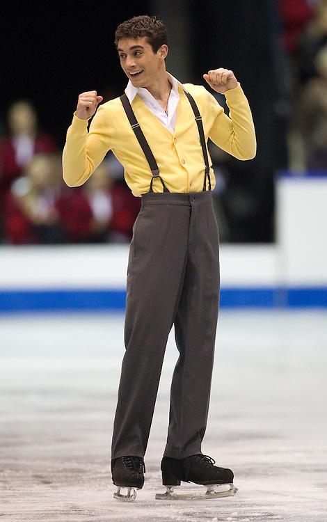 GJR349 -20111028- Mississauga, Ontario,Canada-  Javier Fernandez of Spain Celebrates at the end of his short program at Skate Canada International, October 28, 2011.<br /> AFP PHOTO/Geoff Robins