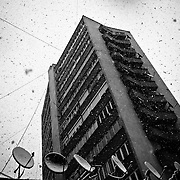 First snowfall in Pristina.