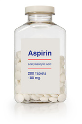 Bottle of aspirin with a clipping path on white background