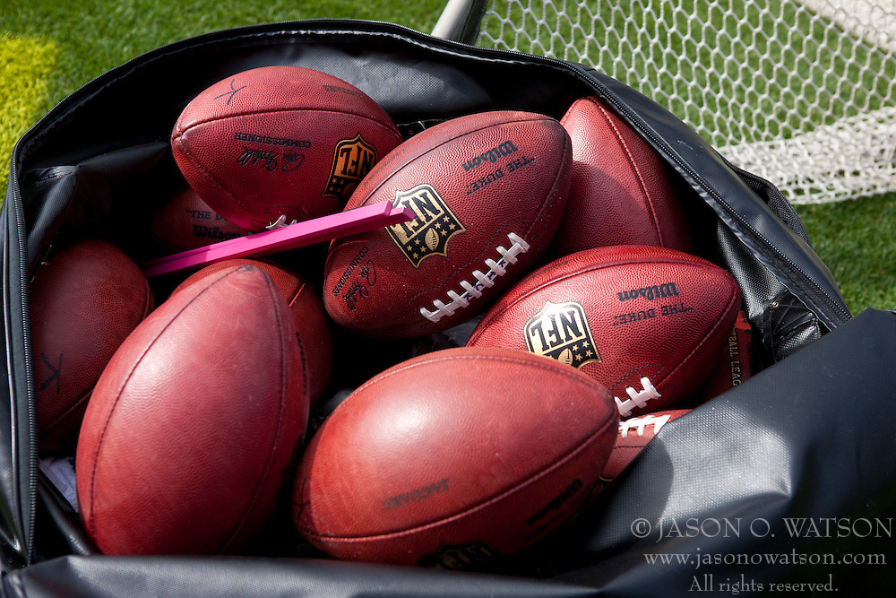 OAKLAND, CA - OCTOBER 21: General view of a bag of Wilson NFL footballs on the sidelines before the game between the Oakland Raiders and the Jacksonville Jaguars at O.co Coliseum on October 21, 2012 in Oakland, California. The Oakland Raiders defeated the Jacksonville Jaguars 26-23 in overtime. Photo by Jason O. Watson/Getty Images) *** Local Caption ***