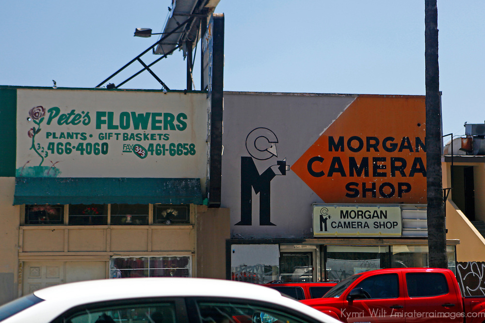 USA, California, Los Angeles. Vintage business signs in Hollywood.