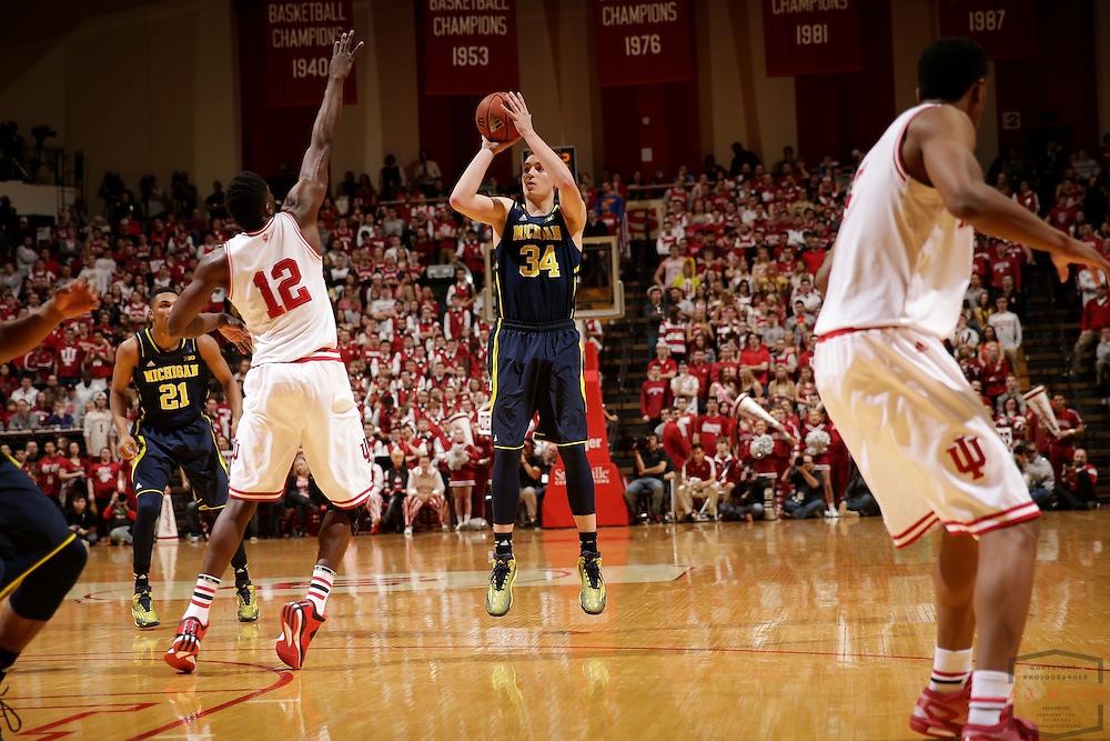 Michigan forward Mark Donnal (34) as Michigan played Indiana in an NCCA college basketball game in Bloomington, Ind., Sunday, Feb. 8, 2015. (AJ Mast / Photo))