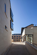 The Rokos Quad from the bridge. Pembroke College, New Build on completion March 2013. Oxford, UK