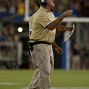 West Chester Coach Bill Zwaan communicates with his team from the sidelines during a Week 1 NCAA football game against Delaware Thursday, Aug. 30, 2012. at Delaware Stadium in Newark Delaware...#15 Delaware defeated West Chester 41-21 in their home opener at Delaware Stadium Thursday Aug. 30, 2012 in Newark Delaware...Delaware will return home Sept. 8, 2012 at 3:30pm for a showdown with interstate Rival Delaware State in the Route 1 Rivalry Bowl at Delaware Stadium.