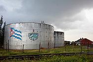Oil tanks in Antilla, Holguin, Cuba.