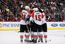 Oct 24, 2008; Newark, NJ, USA; The Philadelphia Flyers celebrate a goal by Philadelphia Flyers right wing Joffrey Lupul (15) during the third period at the Prudential Center. The Flyers defeated the Devils 6-3.