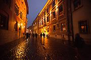 street scene at night in Krakow