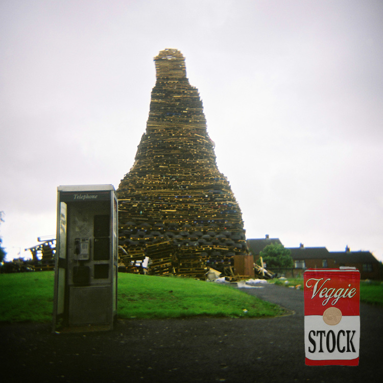 Bonfire preparations, Belfast, Northern Ireland, July 2008..The bonfires are built in preparation for the annual 12th July celebrations, which commemorate the defeat of James Stuart at the Battle of the Boyne in 1690.