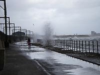 Biking too close to breaking waves, Scotland..............