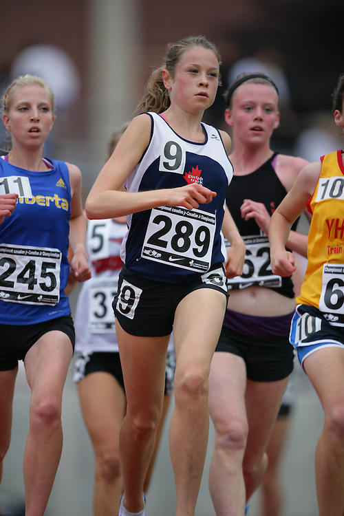 (Charlottetown, Prince Edward Island -- 20090718) Caileigh Smith of Guelph Track & Field Club competes in the 3000m finals at the 2009 Canadian Junior Track & Field Championships at UPEI Alumni Canada Games Place on the campus of the University of Prince Edward Island, July 17-19, 2009.  Geoff Robins / Mundo Sport Images ..Mundo Sport Images has been contracted by Athletics Canada to provide images to the media.