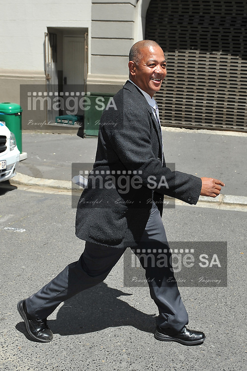 CAPE TOWN, SOUTH AFRICA - Tuesday 14 October 2014, Detective Warrant Officer (D/WO) George Stefanus of Gugulethu after giving testimony during Day 5 of the Shrien Dewani trial at the Western Cape High Court before Judge Jeanette Traverso. Dewani is caused of hiring hit men to murder his wife, Anni. Anni Ninna Dewani (n&eacute;e Hindocha; 12 March 1982 &ndash; 13 November 2010) was a Swedish woman who, while on her honeymoon in South Africa, was kidnapped and then murdered in Gugulethu township near Cape Town on 13 November 2010 (wikipedia).<br /> Photo by Roger Sedres