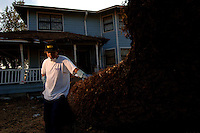 """""""Katrina Killed every house, you know, killed New Orleans, but the mayor and govoner say we rebuild New Orleans, we come back to New Orleans for good.""""  ..Resident of the lower 9th Ward in New Orleans, Manuel Mendoza's, home was destroyed by floodwaters and fallen trees following Hurricane Katrina two months prior. (Robert Caplin/New York Times)..."""