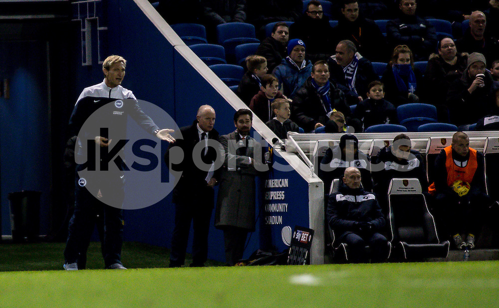 Brighton Manager Sami Hyypia and Millwall manager Ian Holloway during the Sky Bet Championship match between Brighton and Hove Albion and Millwall at the AMEX Stadium, Brighton, England on 12 December 2014. Photo by Liam McAvoy.