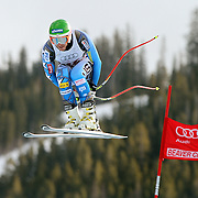 SHOT 12/2/11 12:30:49 PM - U.S. skiier Bode Miller takes flight off the Red Tail jump during the downhill on The Birds of Prey course at the Audi FIS World Cup on December 2, 2011 in Beaver Creek, Co. Miller won the race with a time of 1:48.32. (Photo by Marc Piscotty / © 2011)