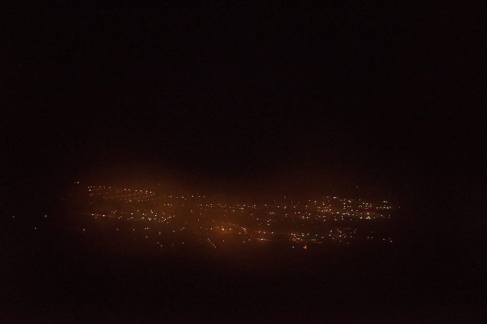 City lights are visible from a hill approaching town on Saturday, May 7, 2016 in Stepanakert, Nagorno-Karabakh.